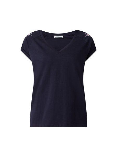 Niebieski t-shirt z dekoltem w serek bawełniany Edc By Esprit