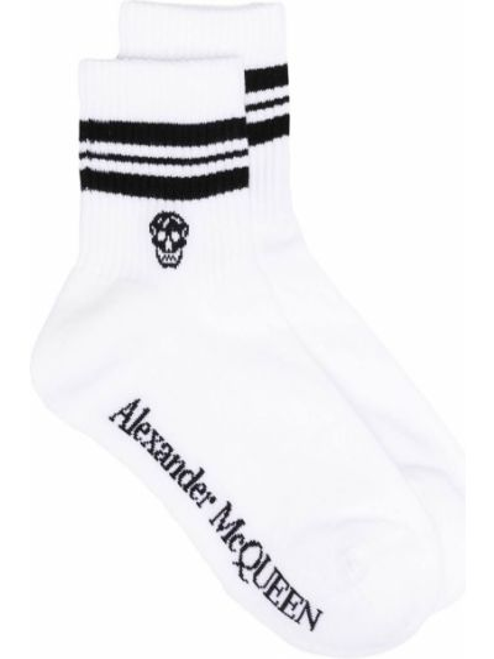 Хлопковые белые носки в полоску Alexander Mcqueen