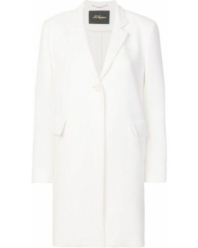 Однобортное белое длинное пальто с капюшоном Les Copains