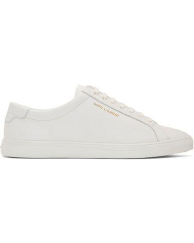 Ażurowy biały sneakersy na sznurowadłach okrągły Saint Laurent