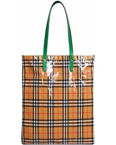 Skórzany torba na zakupy z łatami zabytkowe przeoczenie Burberry