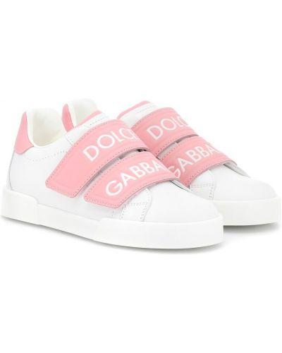 Кожаные кроссовки белый итальянский Dolce & Gabbana Kids