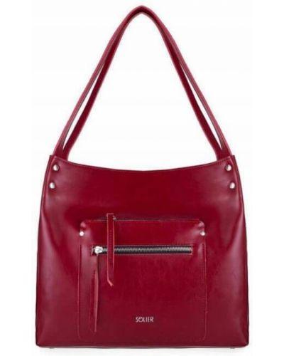 Czerwona torebka skórzana miejska Solier