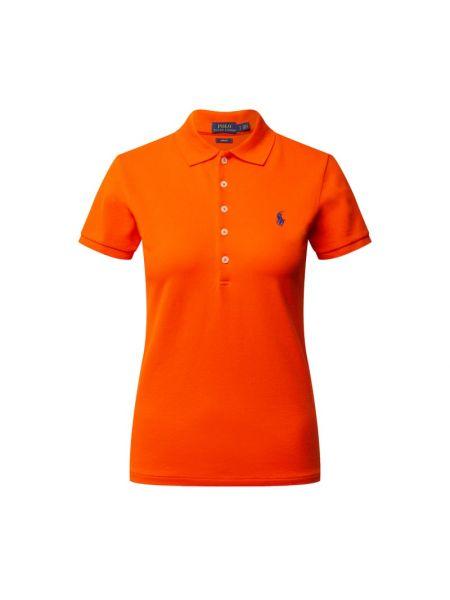 Prążkowany pomarańczowy t-shirt bawełniany Polo Ralph Lauren