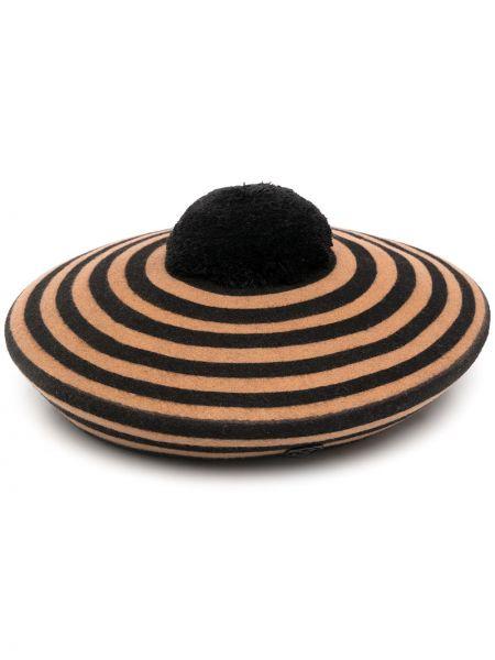 Czarny beret wełniany w paski Maison Michel