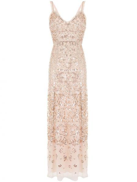Розовое вечернее платье из фатина с пайетками с V-образным вырезом Needle & Thread