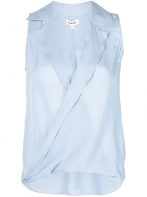 Синяя шелковая блузка с воротником L'agence