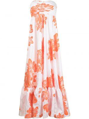 Белое платье макси с оборками на молнии Bambah