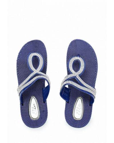 Синие шлепанцы пляжные Ella