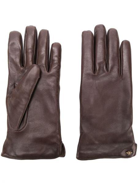 Коричневые кожаные перчатки Gucci