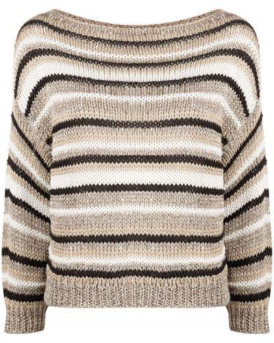 Bawełna sweter z okrągłym dekoltem z długimi rękawami z paskami Antonelli