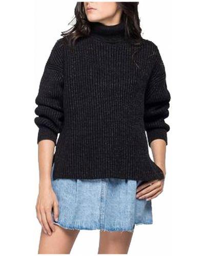 Czarny sweter w paski Replay