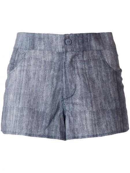 Синие хлопковые джинсовые шорты на молнии Amir Slama