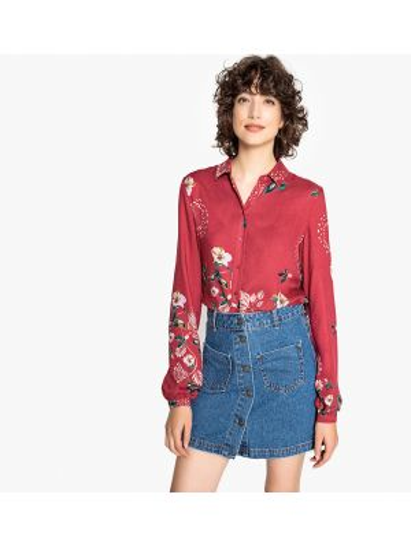Блузка с длинным рукавом с цветочным принтом прямая Vila
