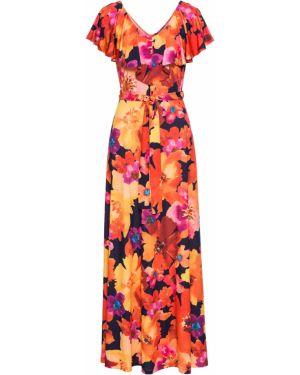 Платье с поясом с оборками желтый Bonprix