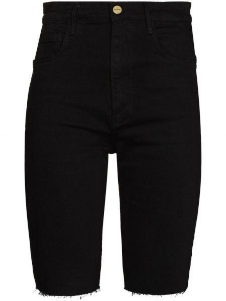 Черные с завышенной талией шорты с карманами Frame
