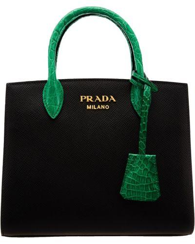 Золотистая сумка-тоут из натуральной кожи с декоративной отделкой Prada