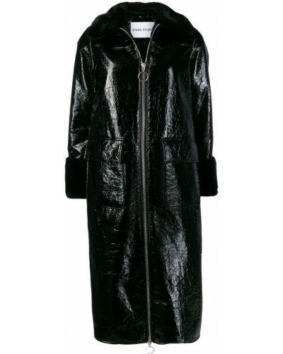 Черное пальто классическое из искусственного меха с воротником Stand
