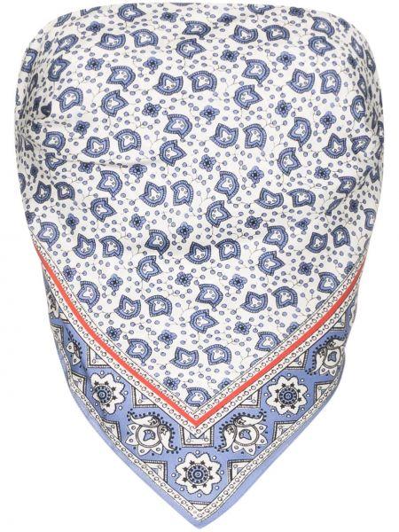 Niebieski top z jedwabiu z printem Chloe