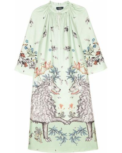 Шелковое платье макси - зеленое Alena Akhmadullina