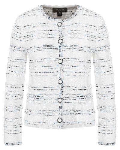 Шерстяной белый пиджак с карманами St. John