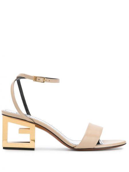 Brązowy skórzany sandały z klamrą na pięcie Givenchy