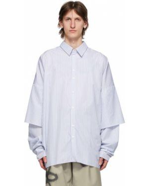 Асимметричная синяя рубашка с воротником с нашивками Camiel Fortgens