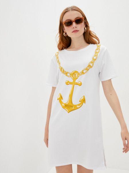 Белое купальное платье Moschino Swim