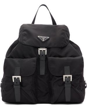 Кожаный рюкзак текстильный на молнии Prada