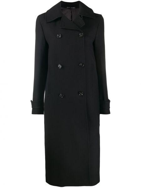 Шерстяное черное пальто классическое двубортное Paul Smith