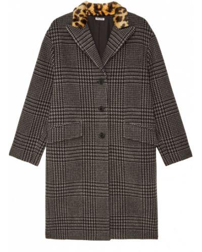 Укороченное пальто серое в клетку Miu Miu