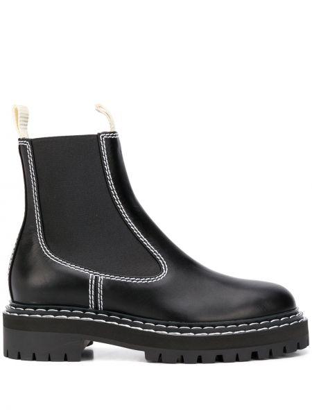 Czarny buty z prawdziwej skóry okrągły nos okrągły Proenza Schouler