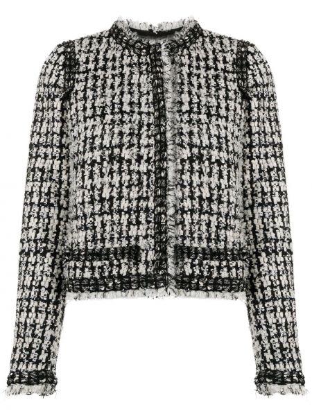 Прямой черный удлиненный пиджак твидовый Giambattista Valli