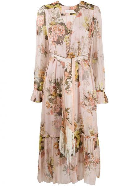 Розовое платье миди с V-образным вырезом с оборками на пуговицах Zimmermann