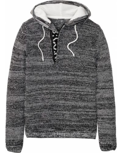 Черный пуловер с капюшоном на шнурках Bonprix
