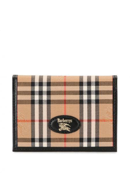 Коричневый парусиновый кожаный кошелек винтажный с подкладкой Burberry Pre-owned