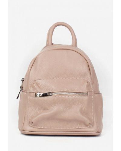 Бежевый кожаный городской рюкзак Bella Bertucci