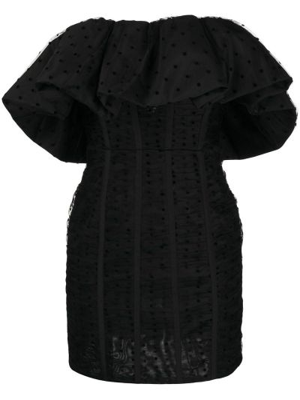 Открытое черное платье мини в горошек Self-portrait