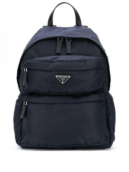 Niebieski włókienniczy plecak prążkowany na paskach Prada