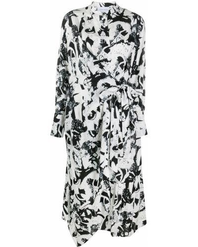Асимметричное черное платье макси с длинными рукавами с воротником Christian Wijnants