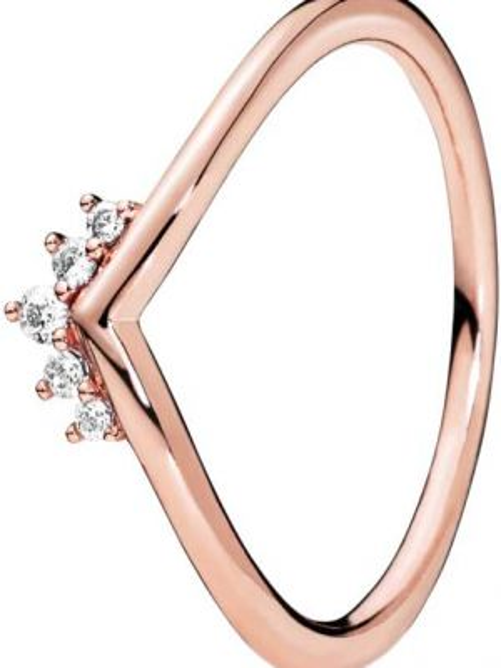 Золотистое белое кольцо металлическое позолоченное Pandora
