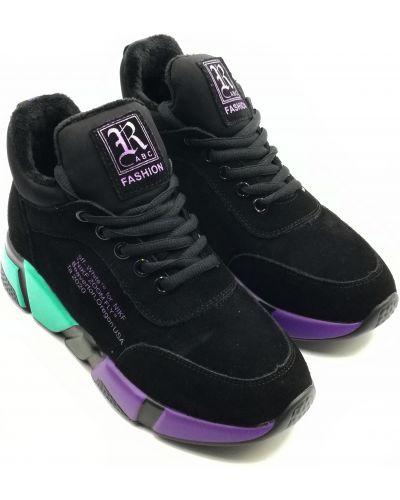 Замшевые кроссовки - черные Lifexpert