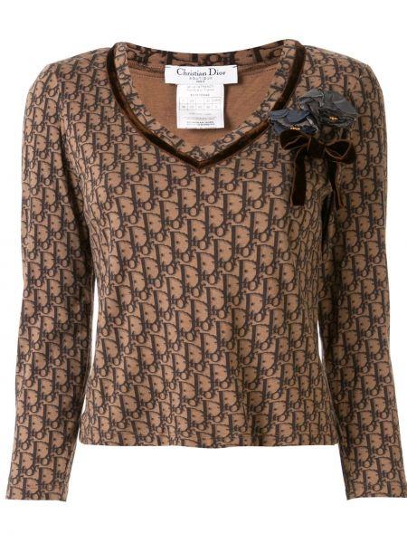 T-shirt z długimi rękawami bawełniany z printem Christian Dior