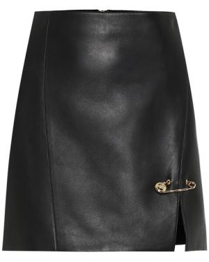 Кожаная юбка мини - черная Versace