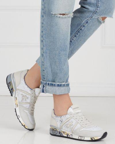 Кроссовки с вышивкой белый Premiata
