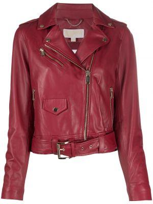 Красная кожаная куртка байкерская Michael Michael Kors