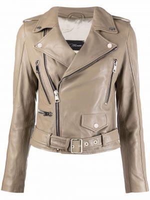 Кожаная куртка на молнии байкерская Manokhi