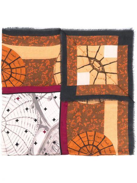 Prążkowany brązowy szalik wełniany Fefe