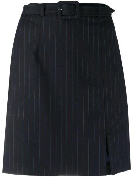 Шерстяная синяя юбка мини с пряжкой с подкладкой Alexa Chung