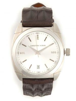 Brązowy zegarek na skórzanym pasku skórzany z diamentem Christian Koban